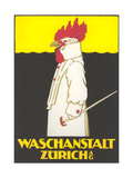 Poster for Zurich Laundry Service with Rooster Giclee Print