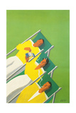 People Smoking in Deck Chairs, French Poster Giclee Print