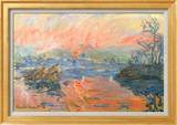 Lavacourt Sunset Poster van Claude Monet