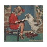 Cat Helping Girl with Homework Giclee Print by Jessie Willcox-Smith