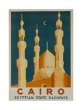 Cairo Egyptian State Ralwats Travel Poster Minarets Impression giclée