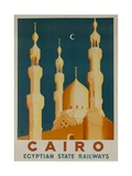 Cairo Egyptian State Ralwats Travel Poster Minarets Giclée-tryk