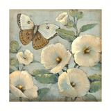 Butterfly and Hollyhocks II Poster by Tim O'toole
