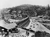 Constructing a Train Trestle Photographic Print