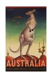Australia Travel Poster Kanagaroo Giclee Print