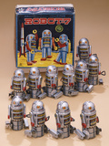 Robot 7 Wind-Up Walking Robots with Original Box Photographic Print