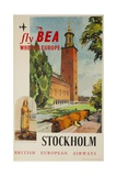Fly Bea When in Europe, Stockholm Travel Poster Giclee Print