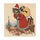 Cat Santa Clause Giclee Print by Louis Wain