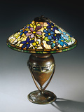 Tiffany Studios 'Clematis' Leaded Glass and Bronze Table Lamp Photographic Print