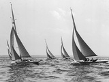 Six Meter Sailboats Leaning in Race Photographic Print by Edwin Levick