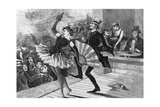 Burlesque Dancer and Admirer on Stage Giclee Print