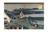 The Exiled Poet Nakamaro Giclée-Druck von Katsushika Hokusai