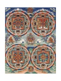 Tibetan Thangka with Four Mandalas Giclee Print