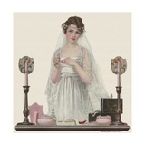 Bride Trying on Ring Giclee Print
