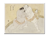 The Match Between Tanikaze Kajinosukemand Kimenzan Tanigoro Giclee Print by Katsukawa Shunsho