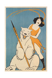 Laughing Woman and Polar Bear Giclee Print