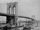 Brooklyn Bridge and Sailing Ships Photographic Print by J.S. Johnston