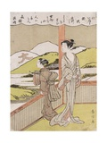 A Poem on the Autumn Moon with Illustration Giclee Print by Suzuki Harunobu