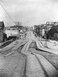 Cable Car Tracks Zig Zag after Earthquake Photographic Print