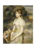 Young Girl Carrying a Basket of Flowers Giclee Print by Pierre-Auguste Renoir