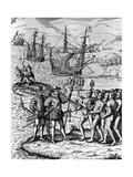 Eighteenth Century Etching of Christopher Columbus on Hispanola Giclee Print