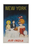Air India Travel Poster, New York Playboy Bunny Giclee Print