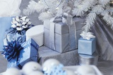 Silver and Blue Wrapped Gifts Photographic Print by Robert Melnychuk