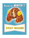 Ready for Winter Stay Warm Dog with Earmuffs Giclee Print