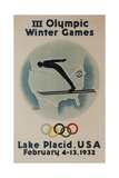 1932 Lake Placid Winter Olympics, Ski Jumper Giclee Print