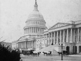 Horse-Drawn Carriages at U. S. Capitol Fotografisk tryk