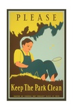 Please Keep the Park Clean, Boy with Net Giclee Print