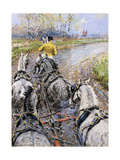The Kings Highway', Study from the Box Seat of the Old Berkeley Coach Giclee Print by Gilbert Holiday