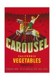 Carousel Vegetable Crate Label Giclee Print