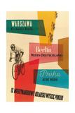 Carrera de bicicletas, Varsovia, Berlín, Praga Lámina giclée