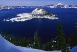 Snow Covered Wizard Island on Crater Lake Photographic Print by Paul Souders