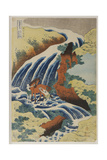 Two Men Washing a Horse in a Waterfall Giclee Print by Katsushika Hokusai