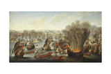 Franco-Spanish Action Off the Port of Barcelona in July 1642 Giclee Print by Pierre Puget