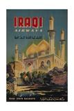 Iraqi Airways Travel Poster, Middle Eastern Mosque Digitálně vytištěná reprodukce
