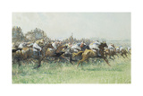 The Derby, Tattenham Corner Giclee Print by Gilbert Holiday