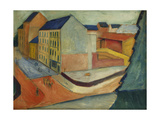 Our Street with a Riding Horse, Bonn Giclee Print by Auguste Macke