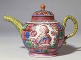 Staffordshire Saltglaze Tartan-Ground Royalist Teapot with Portrait of Prince Charles Edward Stuart Photographic Print