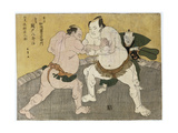 The Bout Between Kajigahama Rikiemon and Sekinoto Hachiroji Giclee Print by Katsukawa Shunsho