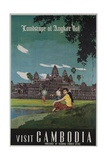 Landscape of Angkor Wat, Visit Cambodia 1950s Travel Poster Giclee Print