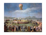 Ascent of a Balloon at the Court of Charles IV Giclee Print by Antonio Carnicero