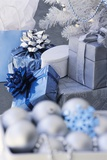 Pile of Blue and Silver Gifts Photographic Print by Robert Melnychuk