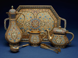 A Six Piece Enamel Silver Gilt Tea and Coffee Service Photographic Print