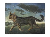 Tabby Cat Walking at Night Giclee Print