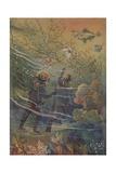 Illustration of Divers Underwater Impression giclée