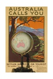 Australia Calls You, Settler, Investor or Tourist Australian Travel Poster Giclee Print