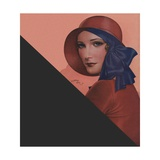 Woman with Red Hat and Blue Ribbon Giclee Print